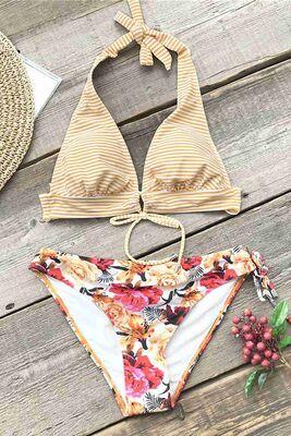 Angelsin Bağlamalı Çiçekli Bikini Alt Çok Renkli - MS42899 - Thumbnail
