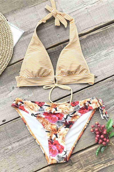 Angelsin Bağlamalı Çiçekli Bikini Alt Çok Renkli - MS42899