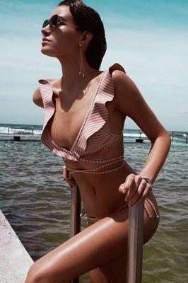 Angelsin - Angelsin Fırfırlı Çizgili Bikini Takım - MS4262