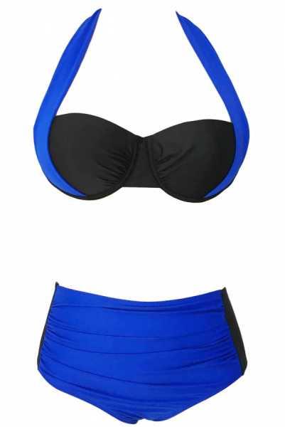 Angelsin Kaplı Mavi Siyah Şık Tasarımlı Yüksek Bel Bikini - MS418985