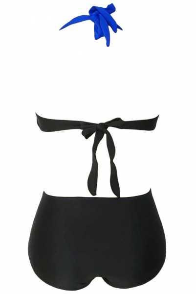 Angelsin Kaplı Mavi Siyah Şık Tasarımlı Yüksek Bel Bikini - MS418985 - Thumbnail