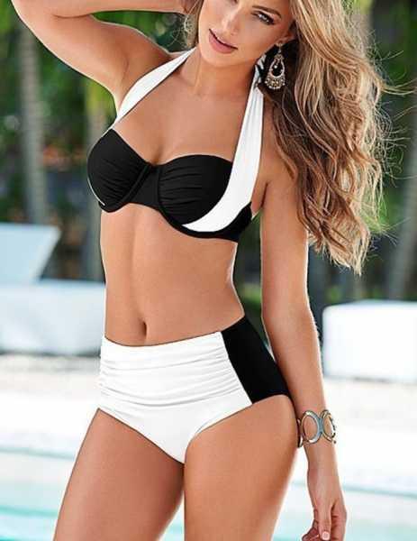 Angelsin - Angelsin Kaplı Siyah Beyaz Şık Tasarımlı Bikini - MS418981