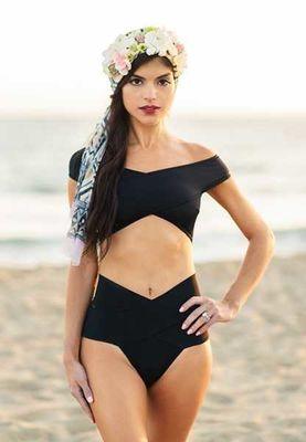 Angelsin - Angelsin Siyah Özel Tasarım Bikini Takım - MS46223
