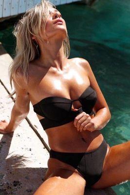 Angelsin - Angelsin Siyah Straplez Bikini Takım - MS4266