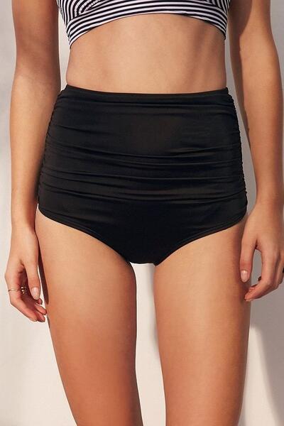 Angelsin Siyah Yüksek Bel Bikini Alt-MS4285
