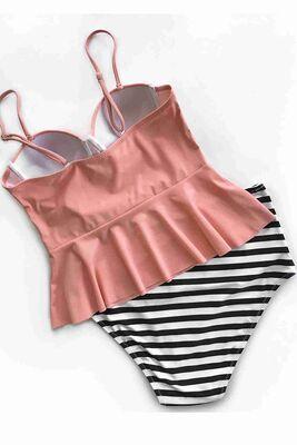 Angelsin Yüksek Bel Bikini Alt Çok Renkli-MS42539 - Thumbnail
