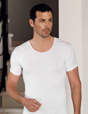 Şahinler - Beyaz Bisiklet Yaka Kısa Kollu Modal Erkek T-Shirt ME129