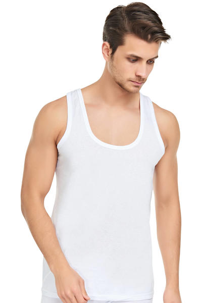 Beyaz Kalın Askılı Klasik Atlet 6'lı Ekonomik Paket 0015-1