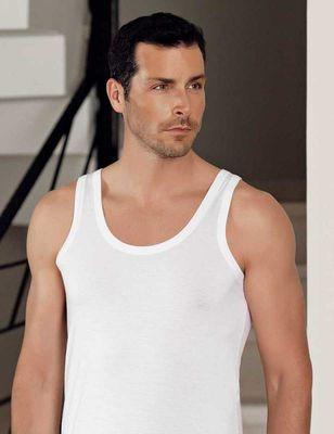 Şahinler - Beyaz Kalın Askılı U Yaka Modal Erkek Atlet ME128