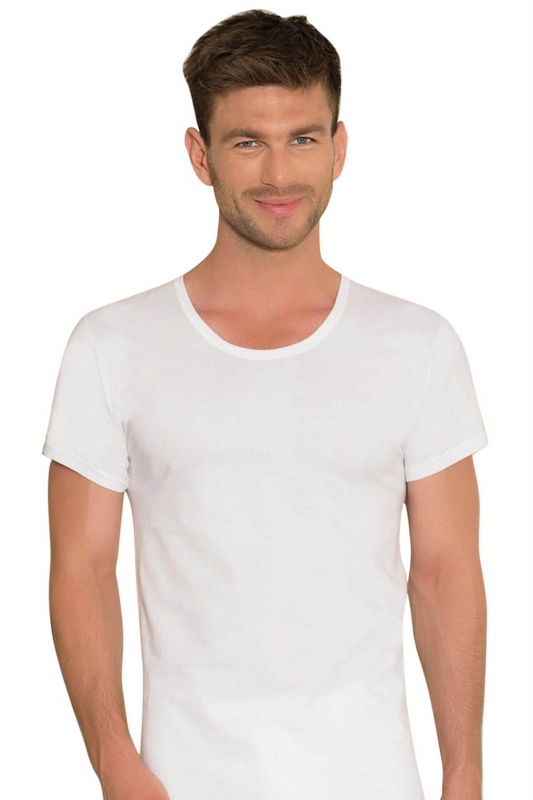 Beyaz Kısa Kollu Yuvarlak Yaka Erkek T-Shirt 0301