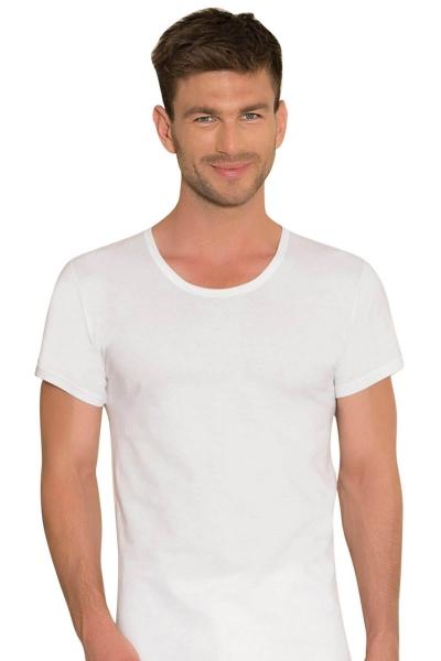 Anıl - Beyaz Kısa Kollu Yuvarlak Yaka Erkek T-Shirt 0301