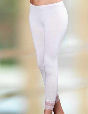 Şahinler - Beyaz Paçası Dantel Detaylı Tam Boy Tayt MB888
