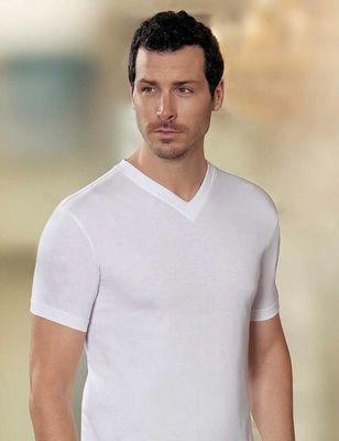 Şahinler - Beyaz V Yaka Kısa Kollu Fit Kalıp Erkek T-Shirt 6'lı Ekonomik Paket ME008