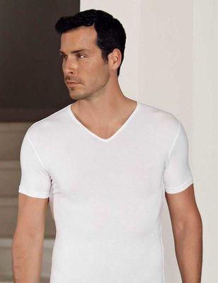 Şahinler - Beyaz V Yaka Kısa Kollu Modal Erkek T-Shirt ME130