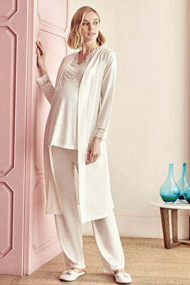 Anıl - Lace Detailed Maternity Pajamas Dressing Gown Set 5506