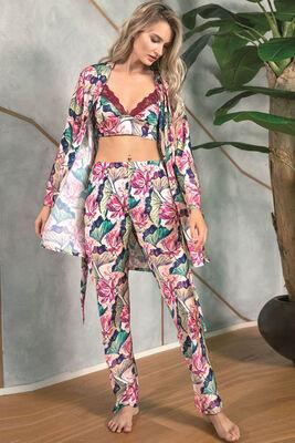 Anıl - Floral Desenli Bralet Sütyenli Saten Pijama Sabahlık Takımı 5627