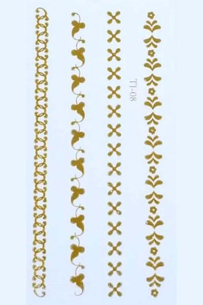 By Yuksel Ozkan - Gold Desenler Geçici Dövme -Tattoo TJ-08