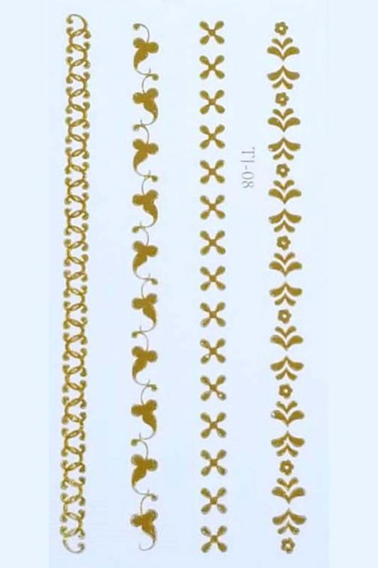 Gold Desenler Geçici Dövme -Tattoo TJ-08