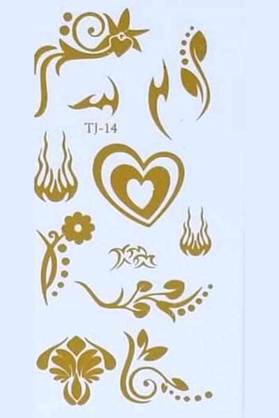 By Yuksel Ozkan - Gold Desenler Geçici Dövme -Tattoo TJ-14