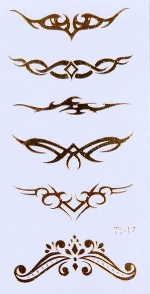 By Yuksel Ozkan - Gold Desenler Geçici Dövme -Tattoo TJ-17-1
