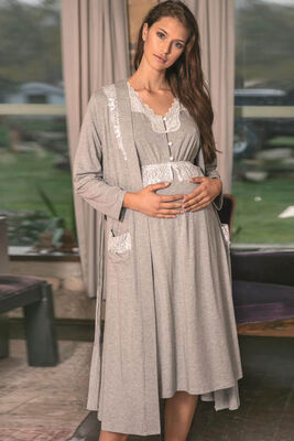 Anıl - Gray Lace Detailed Maternity Nightgown Set 5546