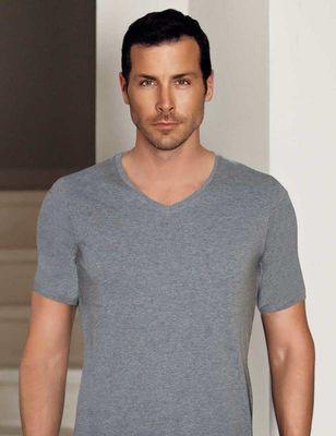 Şahinler - Gri V Yaka Kısa Kollu Modal Erkek T-Shirt ME134