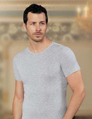 Şahinler - Gri V Yaka Kısa Kollu Ribana Erkek T-Shirt 6'lı Ekonomik Paket ME028