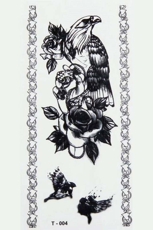 Kara Kartal Geçici Dövme -Tattoo T-004