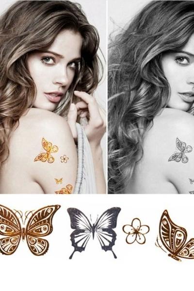 By Yuksel Ozkan - Kelebek Geçici Dövme -Tattoo 003