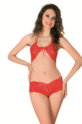 Sistina - Kırmızı Dantelli Fantazi Sütyen Takım 905
