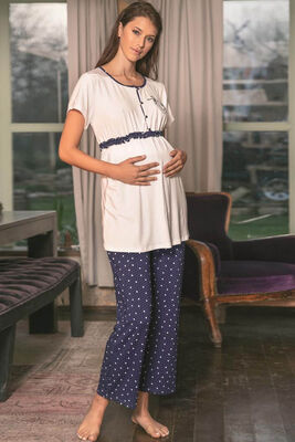Anıl - Lacivert Puantiye Desenli Hamile Pijama Takımı 9661