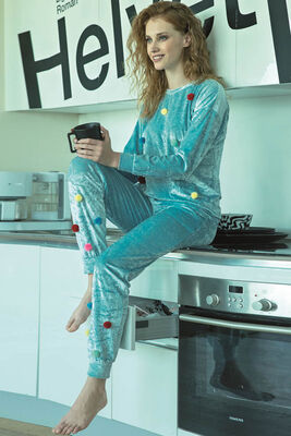 Anıl - Mavi Ponpon Detaylı Kadife Pijama Takımı 9663
