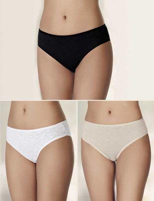 Şahinler - Melanjlı Basic Bikini Külot 3'lü Ekonomik Paket MB3057