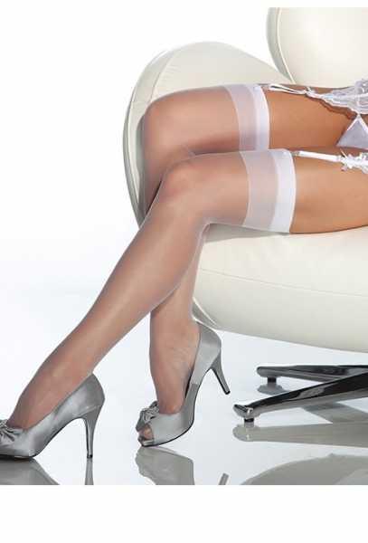 Merry See - Merry See Beyaz Dantelsiz Jartiyer Çorabı