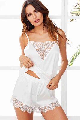 Merry See - Merry See Dantel İşlemeli Saten Şortlu Pijama Takım Beyaz MS3245
