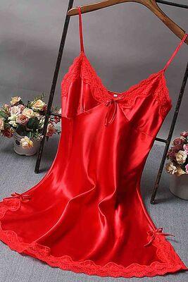 Merry See - Merry See Dantelli Kısa Saten Gecelik Kırmızı- MS2331