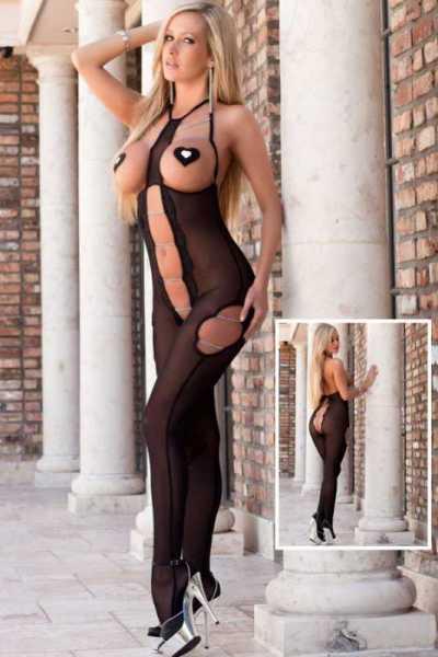 Merry See - Merry See Fantazi Siyah Zincirli Vücut Çorabı - MS3250-1