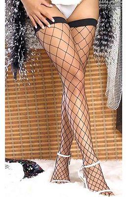 Merry See - Merry See Geniş File Jartiyer Çorabı Siyah - MS7905