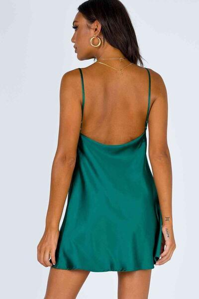 Merry See Yeşil Gögüs Degajeli Saten Elbise MS2349