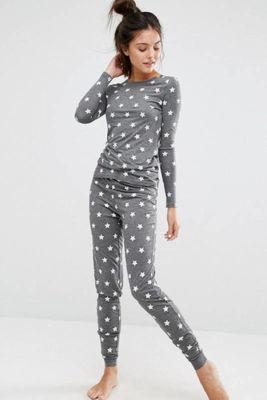 Merry See - Merry See Gri Yıldız Desenli Şık Pijama Takımı - MS4002