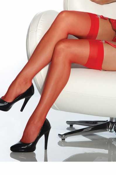 Merry See - Merry See Kırmızı Dantelsiz Jartiyer Çorabı