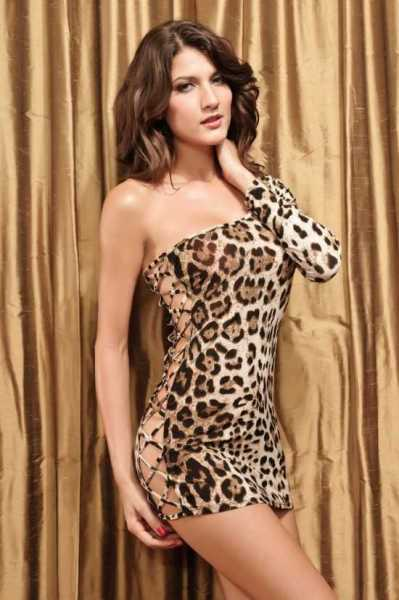 Merry See - Merry See Leopar Desenli Seksi Babydoll elbise - MS2564