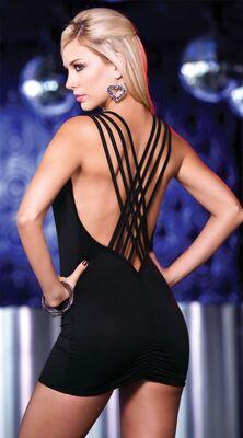 Merry See - Merry See Özel Tasarım Siyah Mini Elbise MS2328-2
