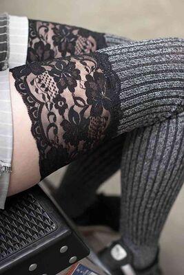 Merry See - Merry See Parfümlü Dantelli Örgü Diz Üstü Jartiyer Çorap Çok Renkli MS7803