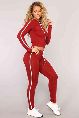 Merry See - Merry See Penye Eşofman Pijama Takım Kırmızı