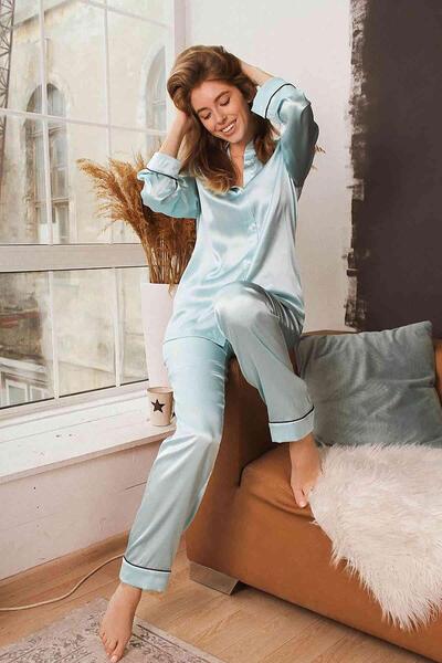 Merry See Mavi Hakim Yakalı Saten Pijama Takım-MS2334