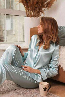 Merry See Mavi Hakim Yakalı Saten Pijama Takım-MS2334 - Thumbnail