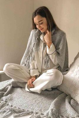 Merry See - Merry See Saten Şık Pijama Takım Düğmeli Beyaz -MS2333