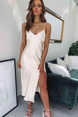 Merry See - Merry See Saten Uzun Yırtmaçlı Gecelik Elbise Beyaz - MS2321