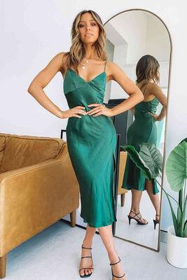 Merry See Yeşil Saten Uzun Yırtmaçlı Gecelik Elbise MS2321 - Thumbnail